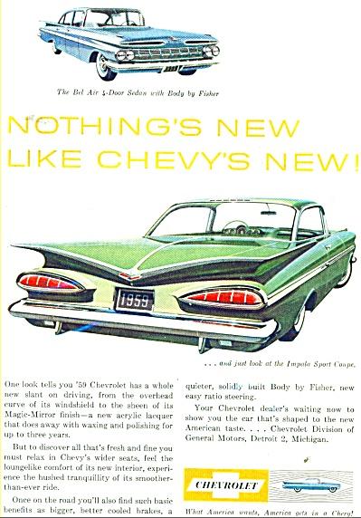 1959 Chevrolet IMPALA BEL AIR CAR AD (Image1)