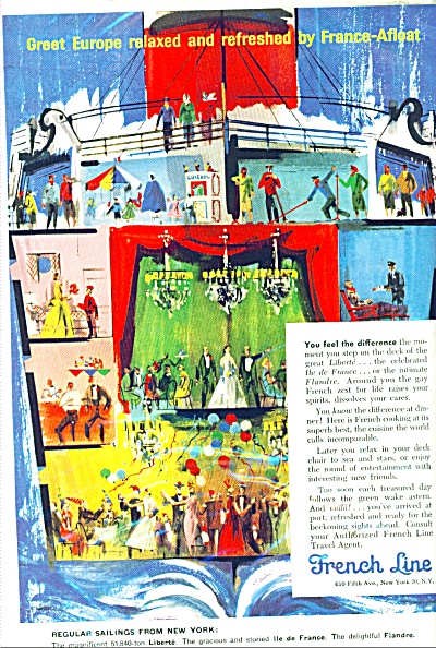 1958 French Line Cruise Ship Ad Villemot Art