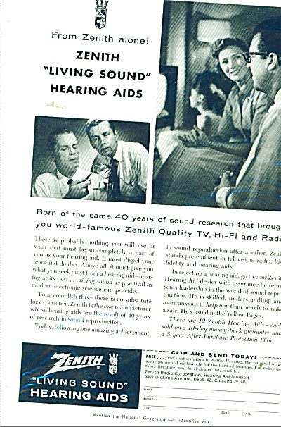 Zenith Hearing Aids Ad - 1958