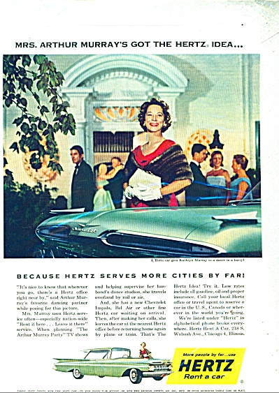 Hertz Rent a card - MRS. ARTHUR MURRAY - ad (Image1)