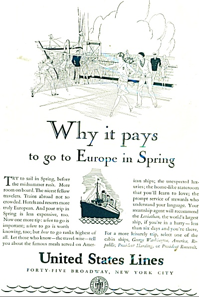 1929 United States Lines AD ARTWORK on DECK (Image1)