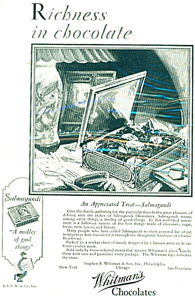 1929 Whitman's Chocolates ad Salmagundi (Image1)