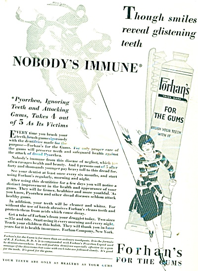 1929 Forhan's for the gums ad NOBODY IMMUNE (Image1)