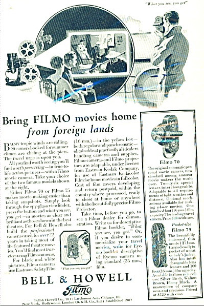 1929 Bell & Howell FILMO 70 - 75 Camera AD (Image1)