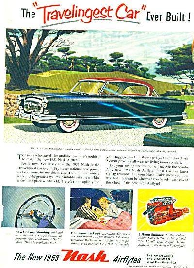 1953 NASH AIRFLYTES Ambassador CAR AD (Image1)