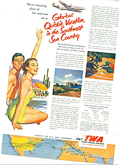 1953 TWA Trams World Airlines QUICKIE AD (Image1)