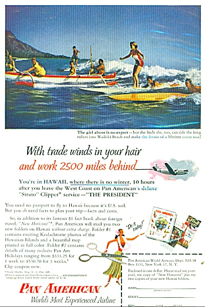 Pan American Airlines Ad - 1953