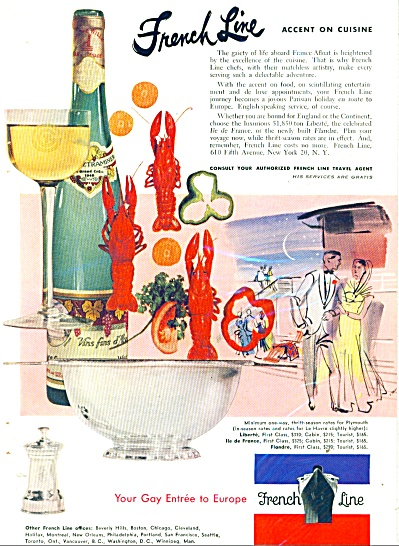 1953 French Line Cruise Ship AD Cuisine Accen (Image1)