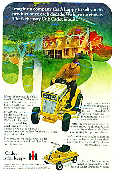 International Harvester Cadet lawn mowers ad (Image1)