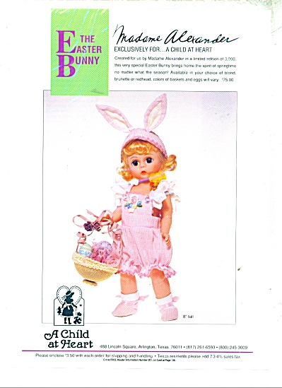 Madame Alexander Doll Ad - Wendy Easter Bunny