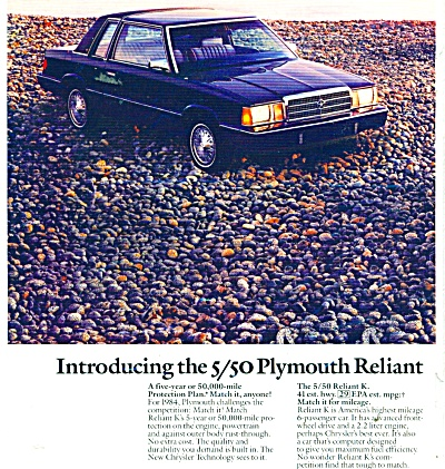 1984 Plymouth RELIANT K Car AD from 1983 (Image1)