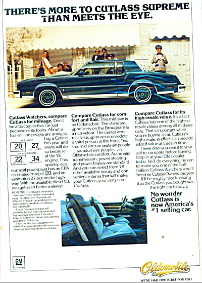 Oldsmobile Cutlass  automobile ad (Image1)