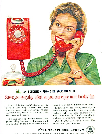 Bell Telephone System Ad - 1959 Extension Phone