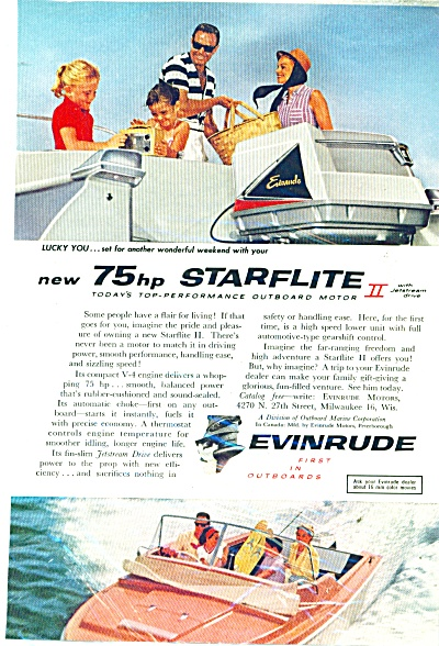 Evinrude Starflite outboard motor - 1959 ad (Image1)
