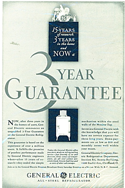1931 GREAT General Electric all steel refrigerator ad (Image1)