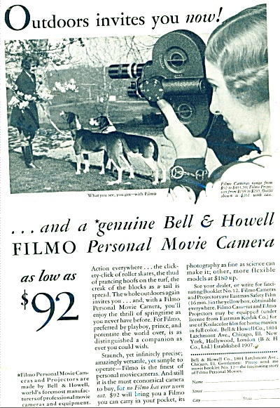 1931 Bell & Howell MOVIE CAMERA AD FILMO (Image1)