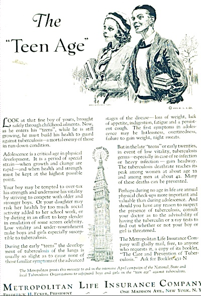 1931 Metropolitan Insurance AD ARTWORK TEENS (Image1)