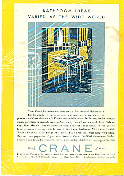 Crane plumbing supplies ad   1931 (Image1)
