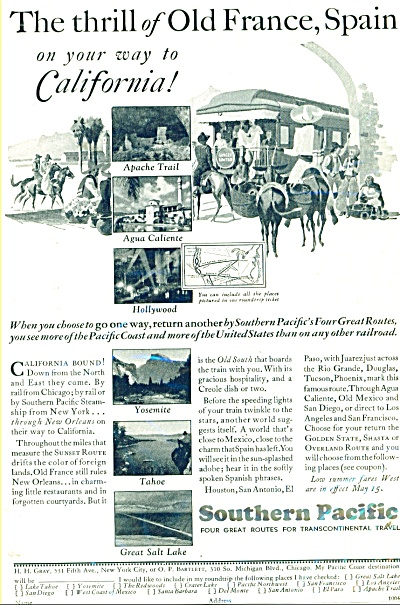 1931 Southern Pacific Railway AD Sunset LTD (Image1)