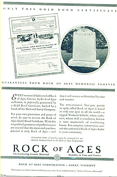 Rock of Ages Memorials ad 1931 (Image1)