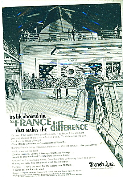 1966 French Line Cruise Ship Ad