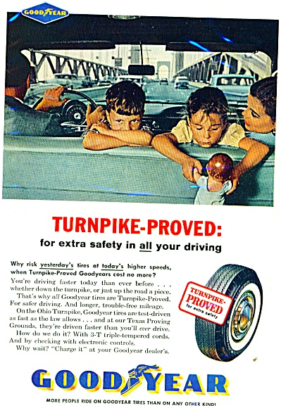 1961 GOODYEAR Tire AD KIDS in CAR NO SEATBELT (Image1)