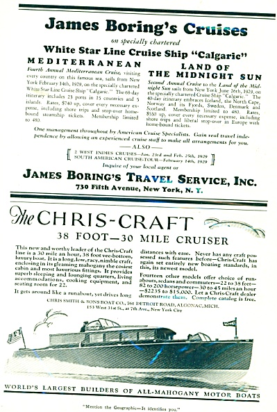 1929 James Boring CUISE CHRIS CRAFT BOAT AD (Image1)