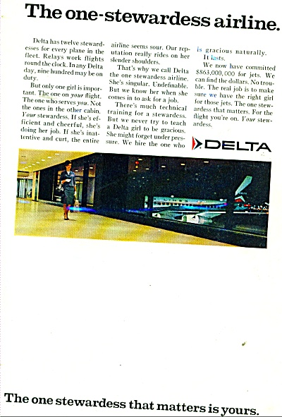 Delta airlines ad ONE STEWARDESS is YOURS (Image1)