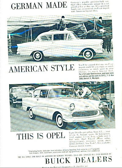 1959 Buick Dealers AD German Made Opel Car Auto Promo (Image1)