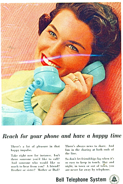 Belltelephone System Ad - 1959 Reach For Your Phone