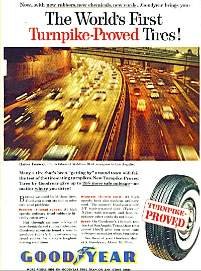 1957 GOODYEAR Tire AD Harbor Freeway LA CA (Image1)