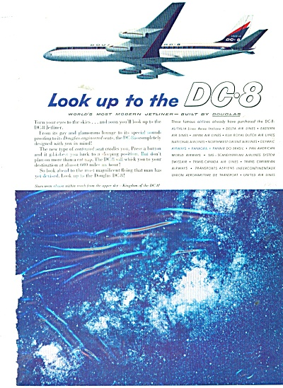1959 Dc-8 By Douglas Airline Ad Look Up To Dc