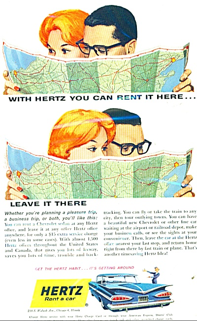 1959 Hertz Rent a car AD ARTWORK Couple MAPS (Image1)