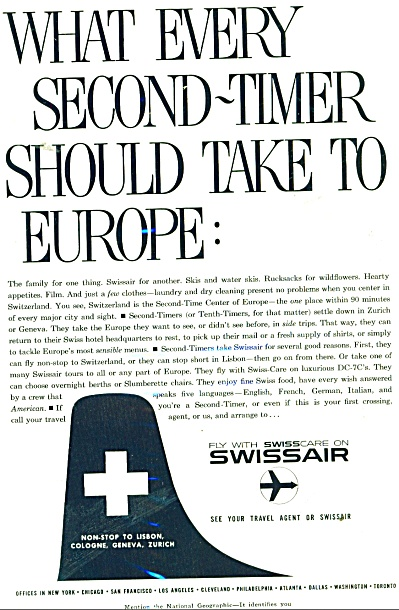 Swissair airlines ad 1959 (Image1)