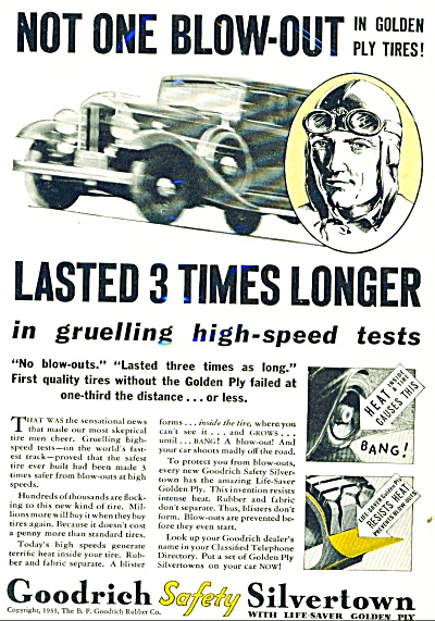 1933 Goodrich Safety Silvertown TIRE AD (Image1)