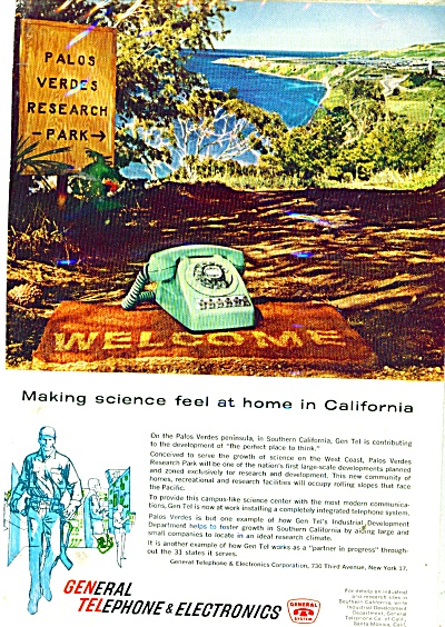 General Telephone & Electronics Ad 1961 Palos Verdes