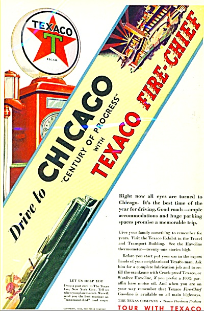 1933 Texaco Fire Chief gasoline AD GAS PUMP (Image1)