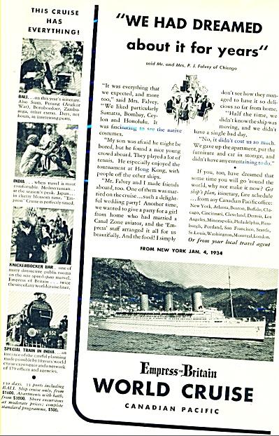Empress of Britain World Cruise ad - 1933 (Image1)