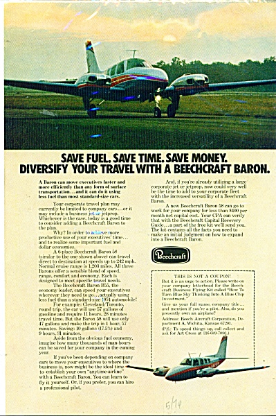 Beechcraft Airplanes ad 1974 (Image1)