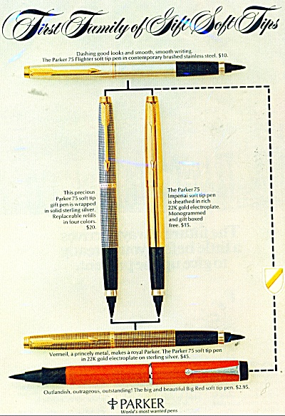 1974 Parker Pen Ad Flighter Stainless Steel +