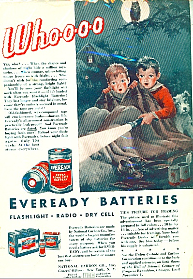 1933 Eveready AD ~ Eleanor Campbell ARTWORK Dick Jane  (Image1)