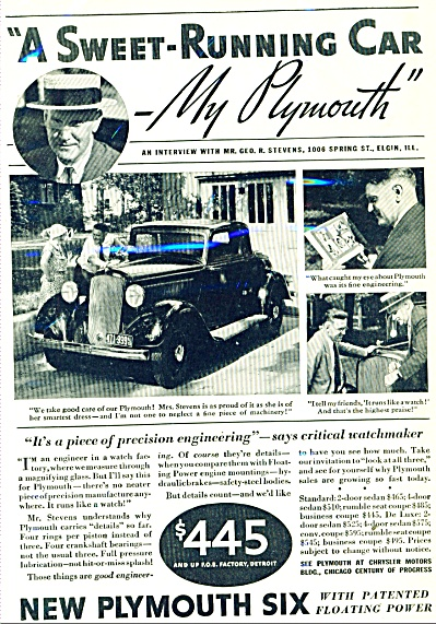 New Plymouth Six Ad 1933