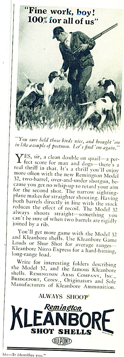 1933 Kleanbore GUN Shot shells by Remington AD Hunting (Image1)