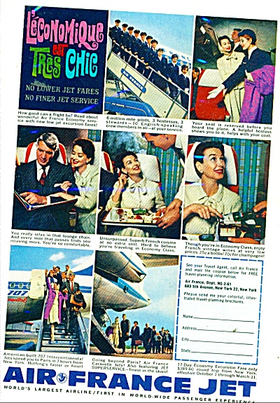 1961 Air France Jet Ad 707 Travel Airline