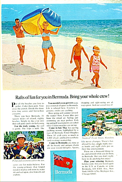 1966 Bermuda Travel AD Family Swimsuits Beach (Image1)