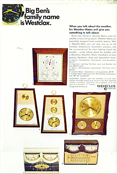 1967 Westclox Clocks Ad Thermometer 6 Models