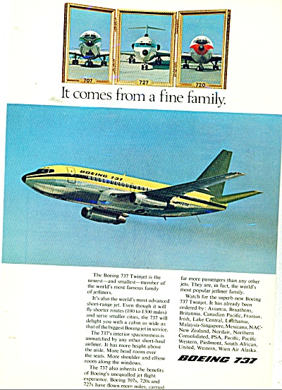 Boeing 737 Airplane Ad 1967