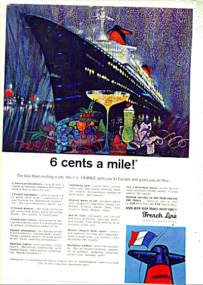 French Line  sailings ad  1965 BOB PEAK ART (Image1)