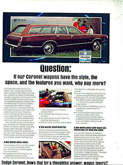 Dodge Coronet CAR Wagon ad  1971 (Image1)