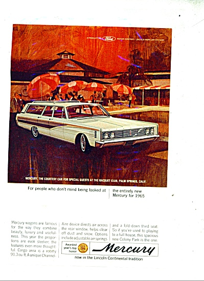 Ford Mercury Automobile For 1965 Ad Palm Springs